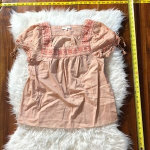Pink Madewell Peasant Embroidered Blouse Size S